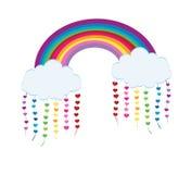 Vektor verwittert Ikonen Regenbogen bewölkt sich mit langen Schatten und Herzen vector Illustration vektor abbildung