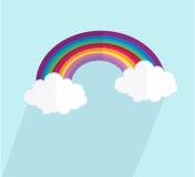 Vektor verwittert Ikonen Regenbogenwolken mit langer Schattenvektorillustration stock abbildung