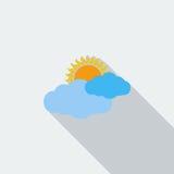 Vektor verwittert Ikonen Sun und Wolke stock abbildung