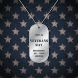 Vektor-Veteranentageshintergrund mit Erkennungsmarken Lizenzfreie Stockbilder