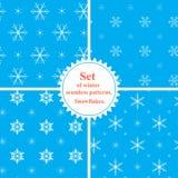vektor vinter för vektor för snowflakes för set för illustrationmodeller seamless Snowfla Arkivbilder