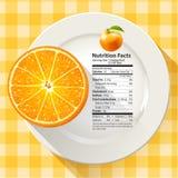 Vektor von den Nahrungs-Tatsachen, die Größe 1 orange Frucht dienen Lizenzfreie Stockfotos