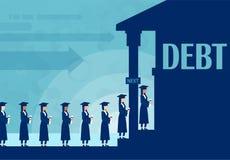 Vektor von den Studenten, die in der Linie bleiben, um Geld in der Bank zu borgen, um für Ausbildung zu zahlen lizenzfreie abbildung
