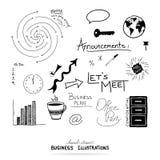 Vektor von Geschäftsgestaltungselementen, von Hand gezeichneten Illustrationen und von Typografie lizenzfreie abbildung