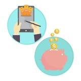 Vektor von Geschäftsmann-Einsparungsgeldsparschwein online Stockfotografie