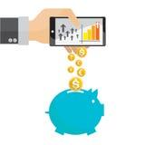 Vektor von Geschäftsmann-Einsparungsgeldsparschwein online Lizenzfreie Stockfotos