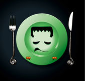 Vektor von Halloween-Partei Frankenstein-Platte Stockbild