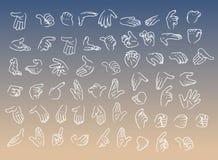 Vektor-von Hand gezeichnete Karikatur-Handzeichen-Illustrationen eingestellt Stockfotos