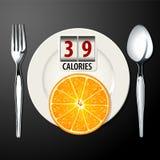 Vektor von Kalorien in der Orange Lizenzfreie Stockfotos