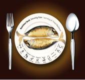 Vektor von Nahrungstatsachen Fried Mackerel Lizenzfreies Stockbild