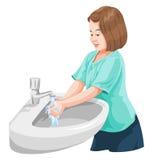 Vektor von waschenden Händen des Mädchens im Waschbecken Lizenzfreie Stockfotografie