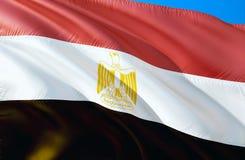 Vektor vorhanden wellenartig bewegendes Design der Flagge 3D Das nationale Sonderzeichen von Ägypten, Wiedergabe 3D Nationale Far vektor abbildung