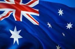 Vektor vorhanden wellenartig bewegendes Design der Flagge 3D Das nationale Sonderzeichen von Australien, Wiedergabe 3D Wellenarti stockbilder