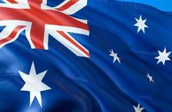 Vektor vorhanden wellenartig bewegendes Design der Flagge 3D Das nationale Sonderzeichen von Australien, Wiedergabe 3D Das nation lizenzfreie abbildung