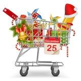 Vektor-Warenkorb mit Weihnachtsdekorationen Stockbilder