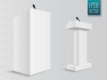 Vektor-weißer Podium-Tribüne-Podiums-Stand mit Mikrophonen Stockbilder