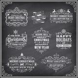 Vektor-Weihnachten-Chalboard-Aufkleber Lizenzfreie Stockfotos