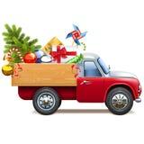 Vektor-Weihnachts-LKW mit Tannen-Baum vektor abbildung