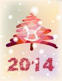 Vektor-Weihnachts- und des neuen Jahreshandgemalte Dekoration Stockfotografie