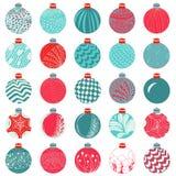 Vektor-Weihnachtsball-Dekorations-Satz stock abbildung