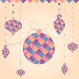 Vektor-Weihnachtsball von geometrischen Formen Feiertagsdesign, Dreieckmuster Stockfoto