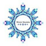 Vektor-Weihnachtsfahne gemacht als Schneeflocke Rundes Muster, Feiertagsdesign, orientalische Art, Wintermandala Stockbild