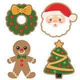 Vektor-Weihnachtsfeiertag verzierte Plätzchen-Weihnachtsillustrationen stockfoto