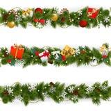 Vektor-Weihnachtsgrenze eingestellt mit Girlande lizenzfreie abbildung