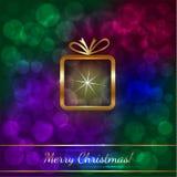 Vektor-Weihnachtsgruß-Karte mit Geschenk lizenzfreie abbildung