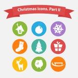 Vektor-Weihnachtsikonen in einer flachen Art Stockfoto