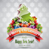 Vektor-Weihnachtsillustration mit magischem Baum. Lizenzfreies Stockbild
