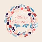 Vektor-Weihnachtskranz mit Blumen und copyspace für Text Lizenzfreies Stockfoto
