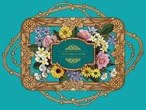 Vektor-Weinlese-Blume u. goldenes Rahmen-Design Stockfotos