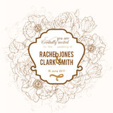 Vektor-Weinlese-Brown-Rahmen-Blumenzeichnungs-Hochzeits-Einladung Stockfotos