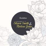 Vektor-Weinlese-Gelb-Schwarz-Rahmen-Blumenzeichnungs-Hochzeits-Einladung mit stilvollen Blumen und Text in klassischem Retro- Lizenzfreie Stockfotografie