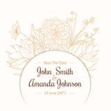 Vektor-Weinlese-hellbrauner beige Grenzrahmen-Blumenzeichnungs-Hochzeits-Einladungs-Karte mit stilvollen Blumen und Text herein Stockfotografie
