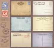 Vektor-Weinlese-Postkarten und Stempel stock abbildung