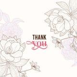 Vektor-Weinlese-Rosa-Brown-Rahmen-danken Blumenzeichnungs-Hochzeits-Einladung Ihnen zu kardieren Lizenzfreie Stockfotografie