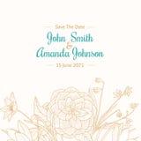 Vektor-Weinlese-Türkis-hellbrauner Grenzrahmen-Blumenzeichnungs-Hochzeits-Einladungs-Karte mit stilvollen Blumen und Text Lizenzfreies Stockbild