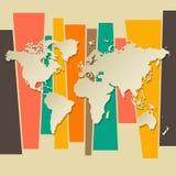 Vektor-Weltkartepapier 3D Retro- Lizenzfreie Stockfotos