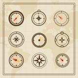 Vektor-Windrose auf einem Weltkartehintergrund Lizenzfreies Stockbild