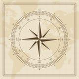 Vektor-Windrose auf einem Weltkartehintergrund Stockbilder