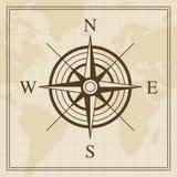 Vektor-Windrose auf einem Weltkartehintergrund Stockfoto