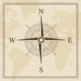 Vektor-Windrose auf einem Weltkartehintergrund Lizenzfreie Stockbilder