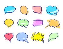Vektor-Zeichnungs-Gesprächs-Blasen eingestellt, Schmutz-Beschaffenheit, Farben-Abstrich-Bürsten-Anschläge stock abbildung