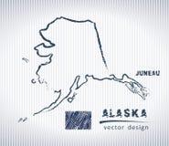 Vektor-Zeichnungskarte Alaskas nationale auf weißem Hintergrund Stockfotografie