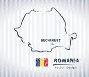 Vektor-Zeichnungskarte Rumäniens nationale auf weißem Hintergrund Lizenzfreie Stockbilder