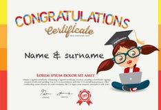 Vektor-Zertifikat für Schulkindschablone Lizenzfreies Stockbild