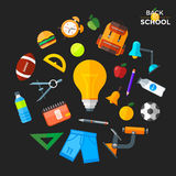 Vektor zurück zu den Schulikonen eingestellt Passend für Fahnen, Printmedien und Webdesign Lizenzfreies Stockfoto