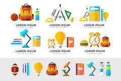 Vektor zurück zu den Schulikonen eingestellt Passend für Fahnen, Printmedien und Webdesign lizenzfreie abbildung